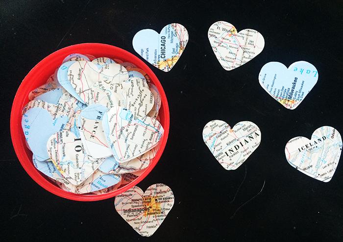 Hearts cut from an atlas