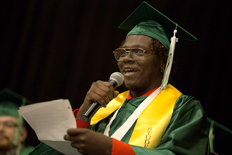 Cordarryl giving his graduation speech